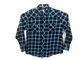 Wrangler Men's Pearl Snap Plaid Western Shirt 100% Cotton Blue Long Slee... - $34.47