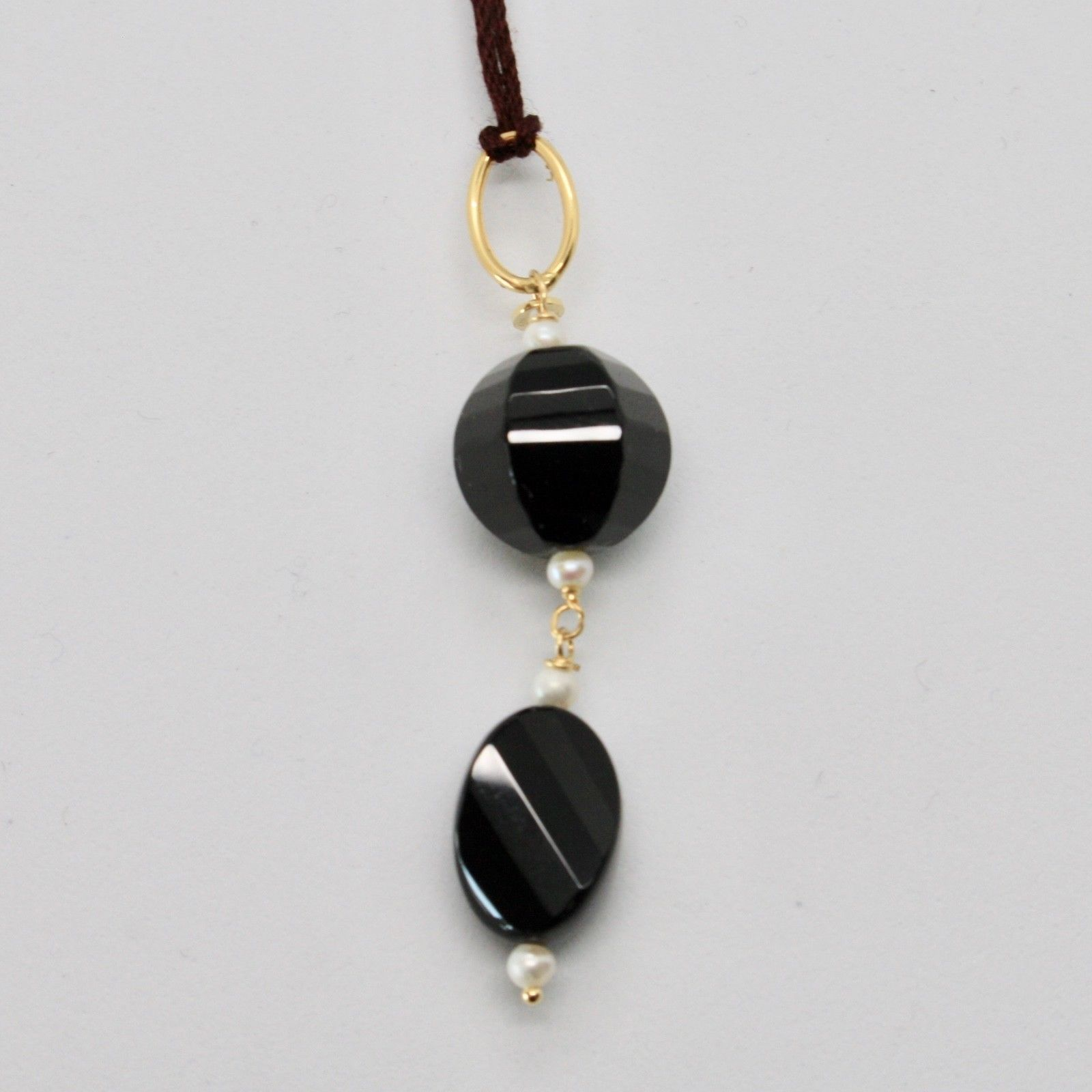 PENDANT YELLOW GOLD 18KT 750 ONYX BLACK NATURAL AND MINI PEARLS OF WATER DOLCE