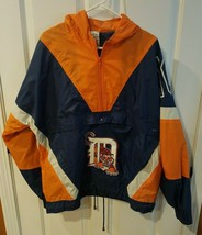 Vintage Detroit Tigers Nutmeg Mills Medium Pull Over Windbreaker MLB Jacket NICE - $64.30