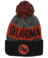 Oklahoma OK Patch Ribbed Cuff Knit Winter Hat Pom Beanie (Black/Burgundy... - $11.95