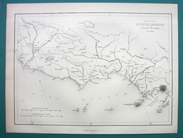 1854 MAP - Italy Coast Between Rome & Naples Puteoli - $12.15