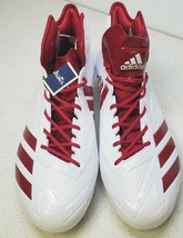 Adidas Adizero 5 Star 6.0 Mid Cleat - Men's Football White/Red Power Size 16 NEW - $67.54