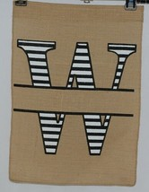 Kate Winston Brand Brown Burlap Monogram Black White W Garden Flag image 1