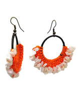 White&Orange Hook Dangle Earrings Stone& Beads& Rope& Brass - $5.94