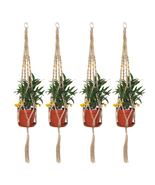 4 Pieces 2.9Ft Macrame Plant Hangers Indoor Wall Hanging Planters Rope U... - £11.93 GBP