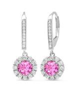 3.45 ct Round Sapphire & Simulated Diamond Drop Dangle Earrings 14k Whit... - $202.94