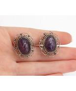 MEXICO 925 Silver - Vintage Amethyst Floral Design Non Pierce Earrings -... - $32.77
