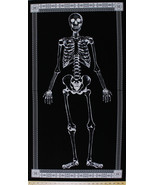 "23.5"" X 44"" Panel Glow-in-the-Dark Skeleton Bones Skull Cotton Fabric D5... - $8.80"