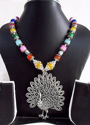 Indian Bollywood Style Oxidized Pendant Pearls Necklace Women's Fashion Jewelry image 2