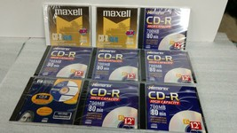 Lot of Nine (9) CD-R Recordable CDs - New Sealed 700MB 80 Minutes - $11.95