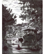 fishing boat in village swamp original pen drawing landscape trees nauti... - $29.99