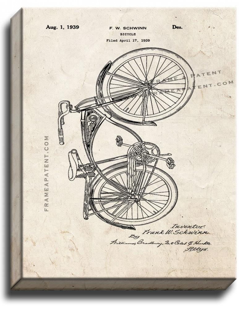 Primary image for Schwinn Bicycle Patent Print Old Look on Canvas