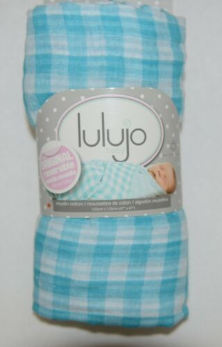 Lulijo baby original reversible muslin swaddle LJ055 blue white