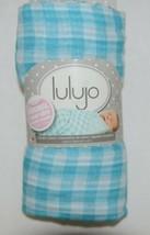 Lulijo baby original reversible muslin swaddle LJ055 blue white image 1