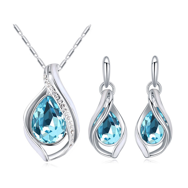 from swarovski drop pendant necklaces stud earrings for women wedding fashion luxury party 2017