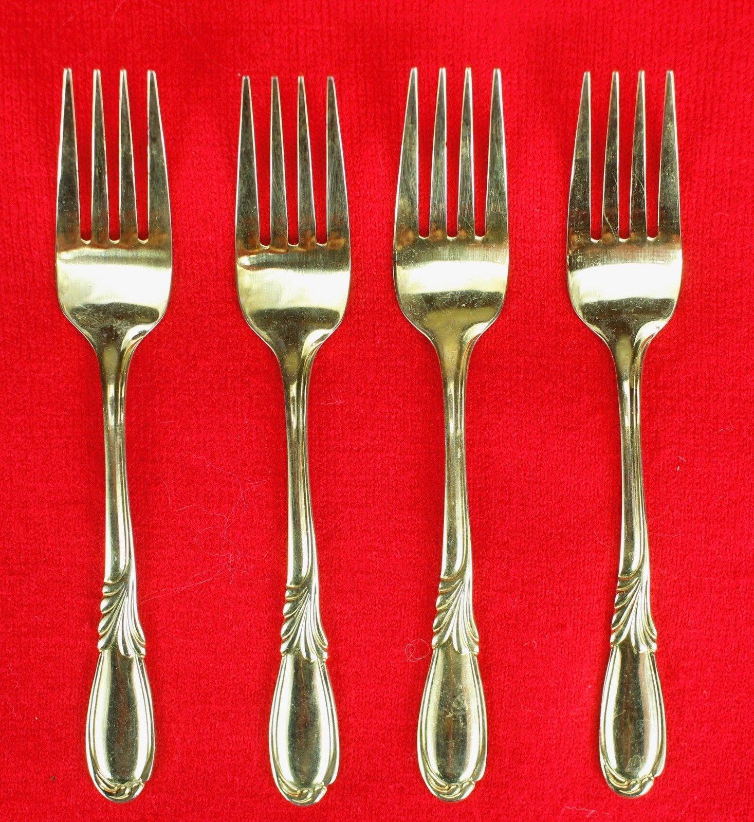 """4X Salad / Dessert Forks Retroneu Linda Gold (Gold Electroplate) Flatware 6 1/4"""""""