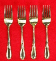 4X Salad / Dessert Forks Retroneu Linda Gold (Gold Electroplate) Flatwar... - $28.71