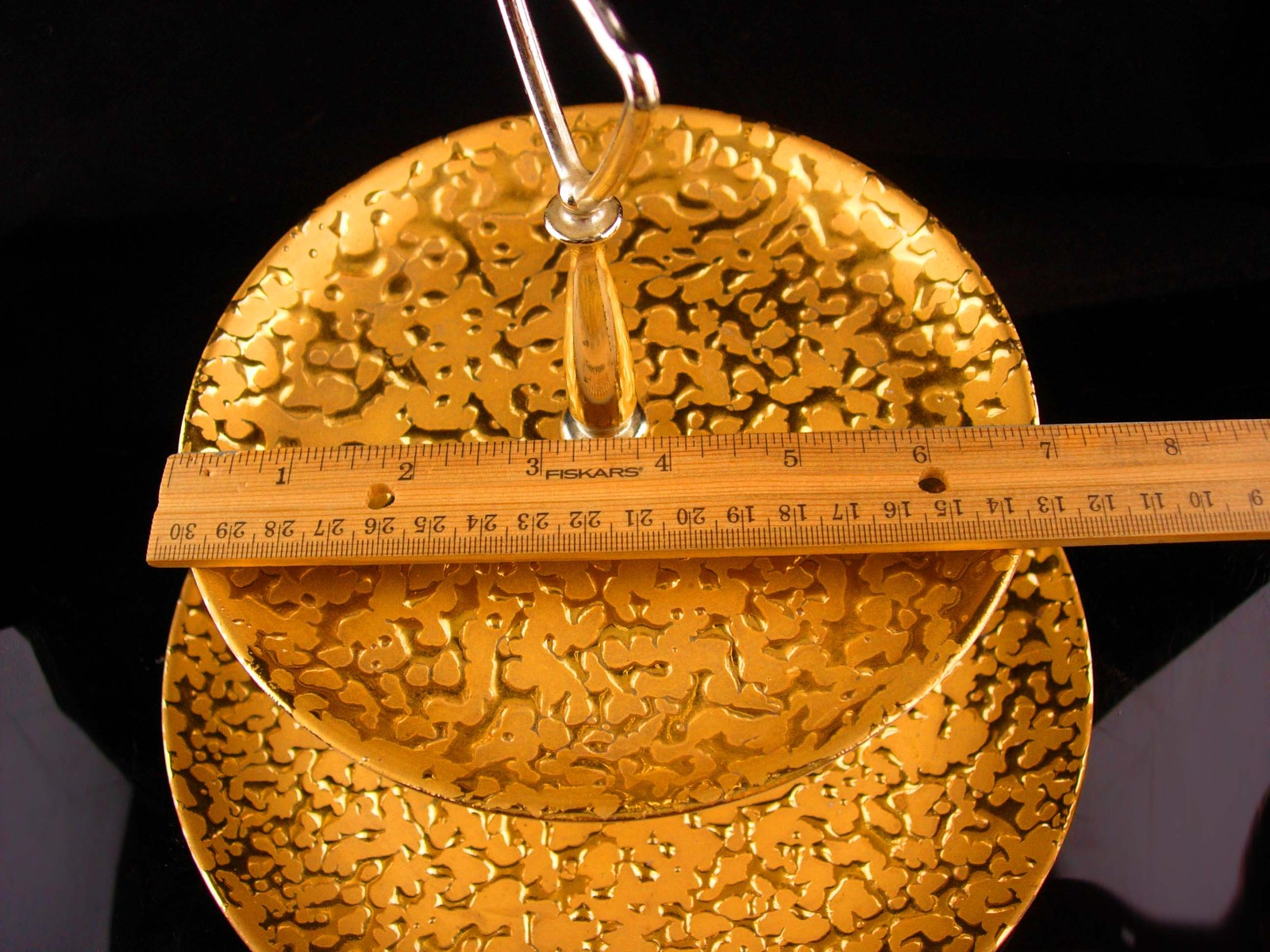 Vintage 22kt gold Wedding cake stand  plate - 10 inch - tea cookie tray - 2 tier