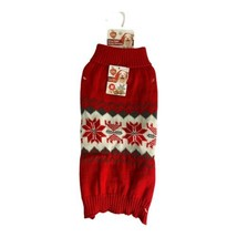 Dog Sweater Size Medium Poinsettias Red Gray Christmas Holiday Sweater S... - $10.70