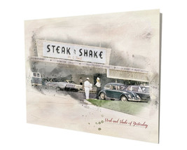 Old Steak and Shake Hamburger Restaurant of Yesterday 16x20 Aluminum Wal... - $59.35