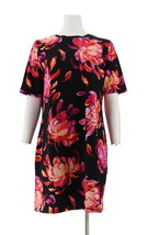 Isaac Mizrahi Choice Print Elbow Slv T-Shirt Dress Black Floral L NEW A3... - $34.63