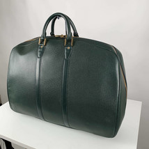 Authentic Louis Vuitton Vintage Green Taiga Leather Helanga Suitcase Travel Bag - $485.10