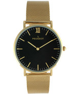 Peugeot 14K Gold Plated Slim Watch Black Dial Mesh Band - $200.47