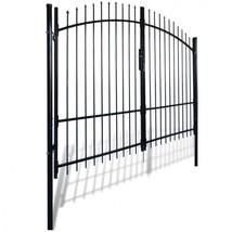 Double Door Fence Gate Spear Top Black Steel Garden Barrier Patio Barric... - $379.17
