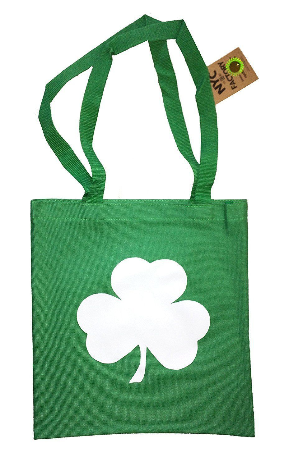 Primary image for Screen Printed Shamrock Tote Bag St Irish Recycled Kelly Green by NYC FACTORY