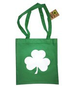 Screen Printed Shamrock Tote Bag St Irish Recycled Kelly Green by NYC FA... - $9.99