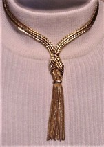 "Vintage Napier Gold-Tone Choker Necklace with Tassel 13"" - $39.55"