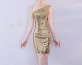 Rose Gold One Shoulder Short Sequin Dress Wedding Bridesmaid Short Sequin Dress image 9