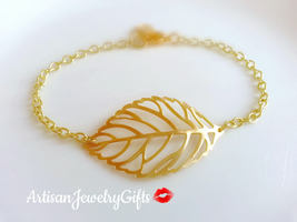 Matte Gold Skeleton Leaf Bracelet Gold Filigree Leaf Bracelet Gold Leaf ... - $26.00