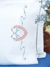 Jack Dempsey Stamped Pillowcases W/White Perle Edge 2/Pkg-Heart & Ribbon - $20.74