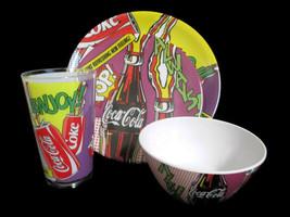 Coca-Cola Melacore 4-piece Place Setting Coke Pop Art Melamine Plate Bow... - $8.91