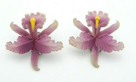 Purple Celluloid Orchid Clip Earrings Vintage Western Germany - $29.69