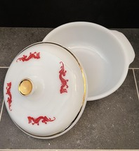 Vintage 50s Fire King Red Dragon 1.5qt casserole with lid image 4