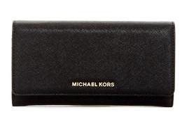 NWT Michael Kors Black Saffiano Jet Set Large Gusset Carryall Wallet - $103.05
