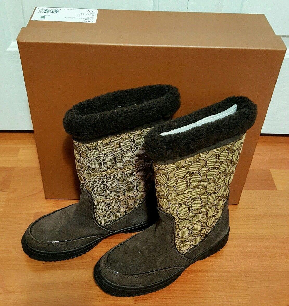 Coach Sherman Sig Suede/Sig C Chestnut/Khaki Cold Weather Boots-NIB 7M image 11