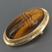 """Vintage Gold-Filled Carved Tigers Eye Scarab Oval Pin Pendant 3/4"""" x 1-3/8"""" - $12.99"""