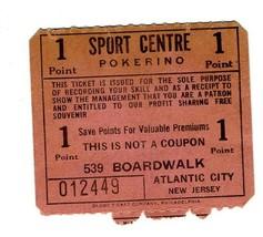 Sport Centre POKERINO Coupon 539 Boardwalk Atlantic City 1950's - $24.72