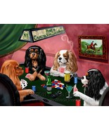 Home of Cavalier King Charles Spaniels 4 Dogs Playing Poker Art Portrait... - $117.81