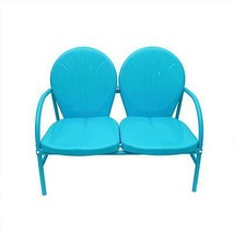 Rich Pacific Turquoise Blue Retro Metal Tulip 2-Seat Double Chair - $162.10