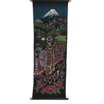 Japanese Tapestry Wall Hanging Mt Fuji Scene Geisha Painted on Felt Meta... - $22.05