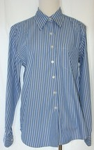 BEENE Women's Size 8 Button Up Shirt Blue with White Pin Stripes - $14.84
