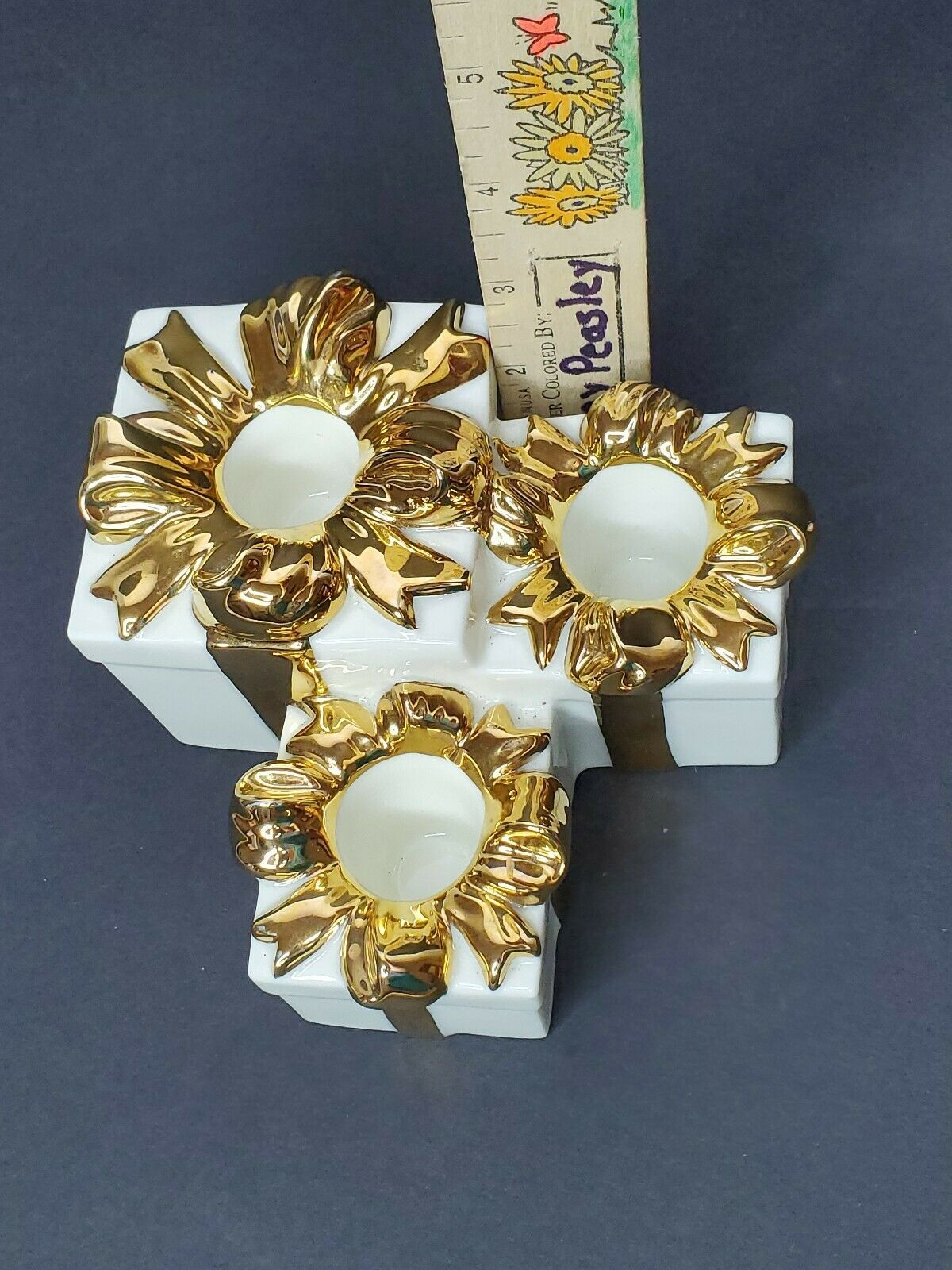 Mikasa 3 Tiered Gift Taper Candle Holder Antique White & Gold Trim Christmas