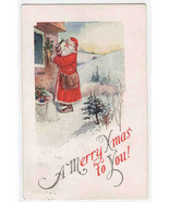 Santa Hammers Holly to House Christmas 1925 postcard - $9.41