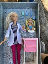 Rare Lot DR BARBIE 2013 W/ 1994 Doctor Cart Doctor Tools , Baby & 1997 C... - $28.50