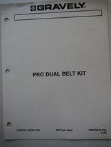Gravely Tractors 1989 Pro Dual Belt Kit illustrated manual and parts list - $6.55