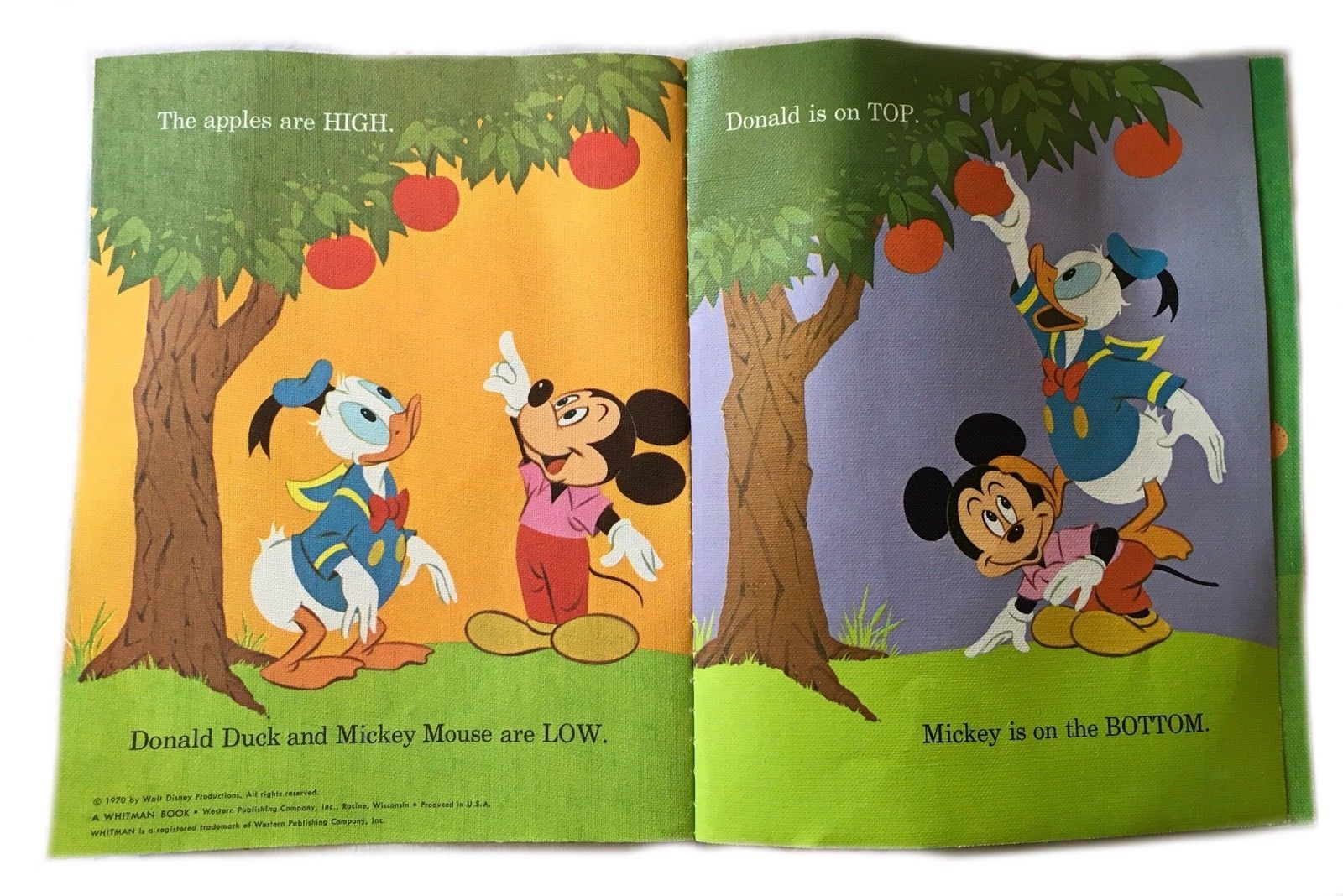 Vintage 1970 Walt Disney Presents Cloth Playpen Picture Book Mickey Mouse